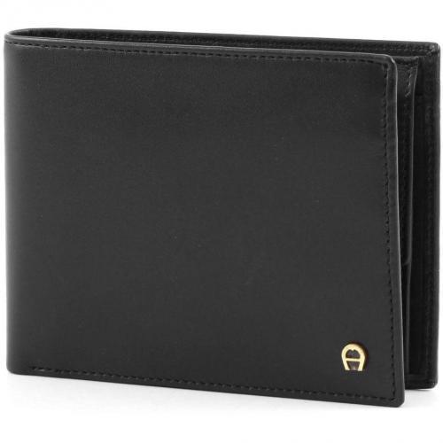 Basics Geldbörse Herren Leder schwarz 11 cm von Aigner
