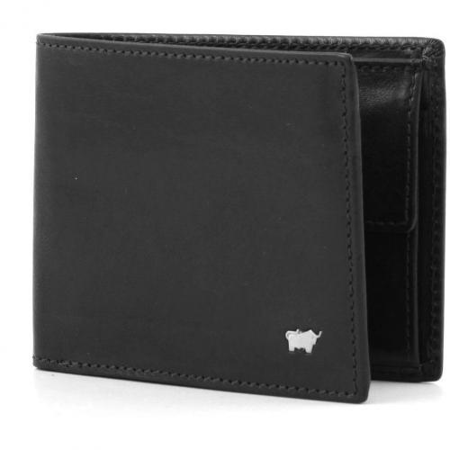 Basic Geldbörse Leder schwarz 11,5 cm von Braun Büffel