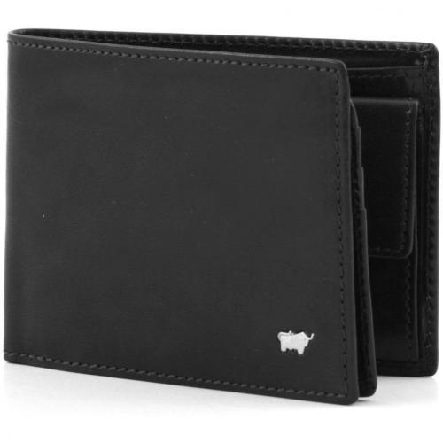 Basic Geldbörse Leder schwarz 12 cm von Braun Büffel