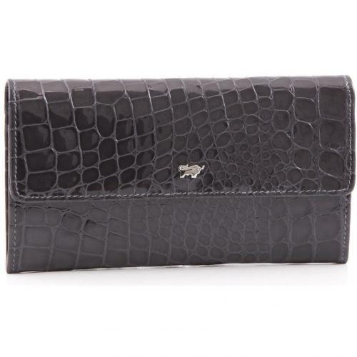 Glanzkroko Geldbörse Leder grau 17,5 cm von Braun Büffel