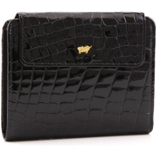 Glanzkroko Geldbörse Leder schwarz 12,5 cm von Braun Büffel