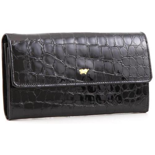 Glanzkroko Geldbörse Leder schwarz 17,5 cm von Braun Büffel