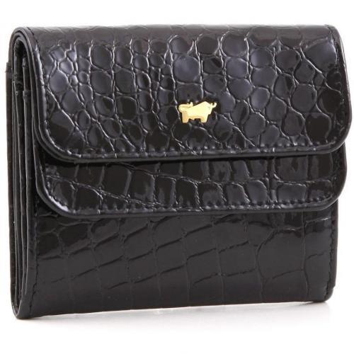 Glanzkroko Geldbörse Leder schwarz 9,6 cm von Braun Büffel