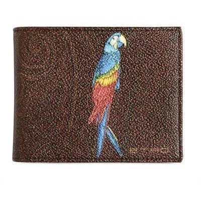 Beschichtete Papageibrieftasche aus Canvas & Leder von Etro