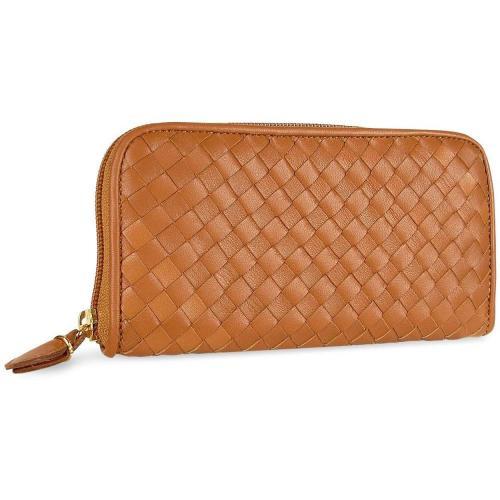 Damenbrieftasche aus gewobenem Leder in braun mit Reißverschluss von Fontanelli