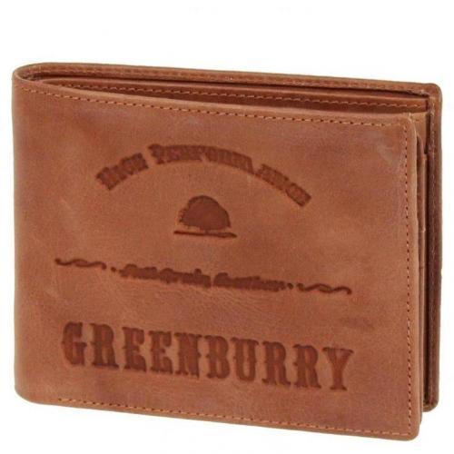 Full Grain 12 cm Geldbörse cognac mit 6 Kartenfächern von Greenburry