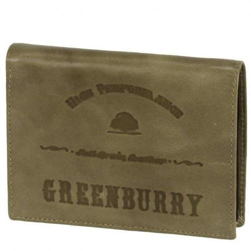 Full Grain 12,5 cm Geldbörse army green von Greenburry