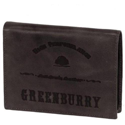 Full Grain 12,5 cm Geldbörse dunkelbraun von Greenburry