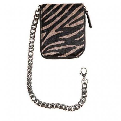 Lederbrieftasche mit Zebradruck Und Kette von Jimmy Choo