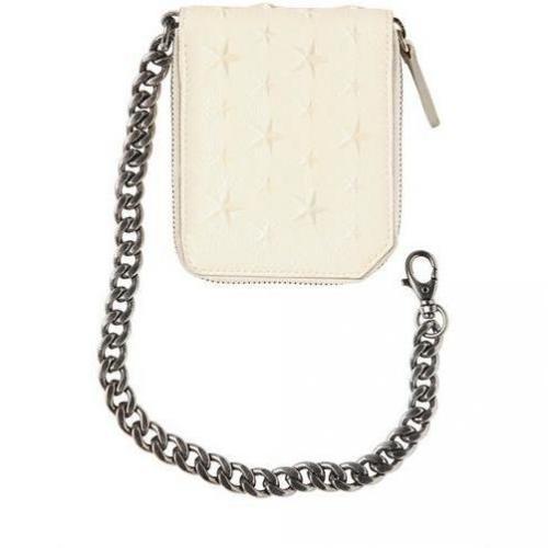 Zip-Brieftasche mit Kette & Geprägten Sternen von Jimmy Choo