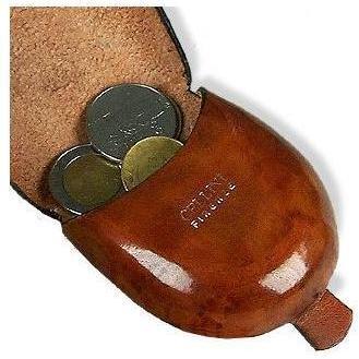 Kirschholzfarbene Münzgeldbörse aus Leder von Pelletterie Fiorentine