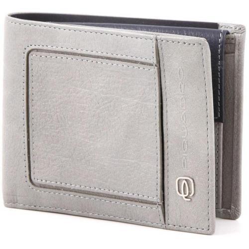 Vibe Geldbörse Herren Leder graublau 15,5 cm von Piquadro