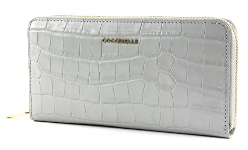 Coccinelle Metallic Croco Shiny Soft Zip Around Wallet Dolphin