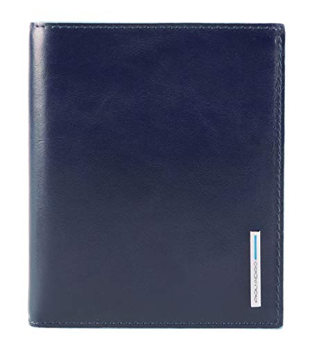Piquadro Blue Square Vertical Flip Men's Wallet With Coin Case Night Blue