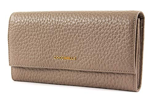 Coccinelle Metallic Bubble Flat Flap Wallet Taupe