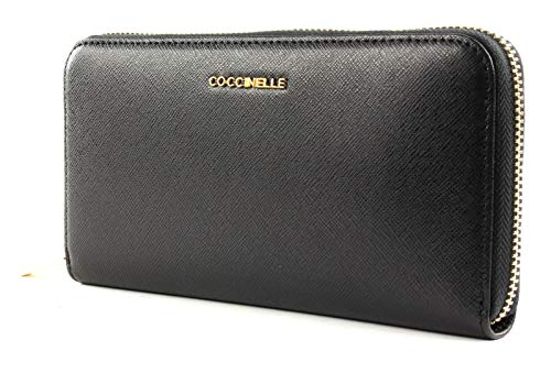 Coccinelle Metallic Saffiano Large Zip Around Noir