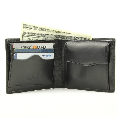 Bifold Coin Snap Pouch Wallet Removable ID Credit Card Passcase Italian Leather