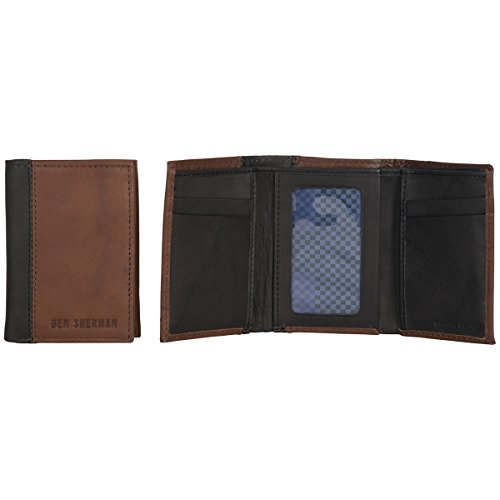Ben Sherman Men's Leather Trifold Wallet with Id Window (Rfid), Brown with Black Color Block