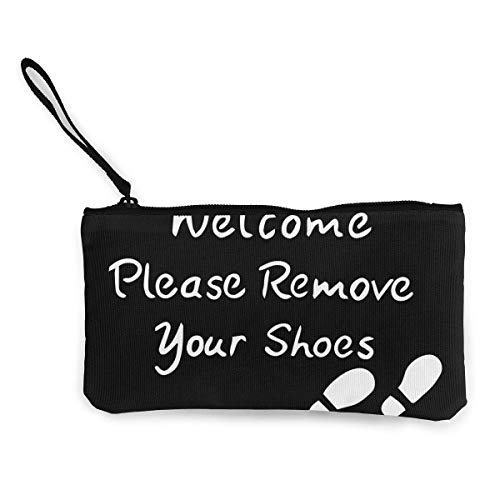 TTmom Damen Leinwand Geldbörse Portemonnaie Geldbeutel,Please Remove Your Shoes Unisex Canvas 3D Print Pattern Coin Purse Wallets for Men and Women