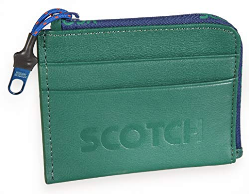 Scotch & Soda Leather Coin Wallet with Logo Boxing Green