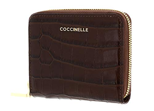 Coccinelle Metallic Croco Shiny Soft Small Zip Around Wallet Moka