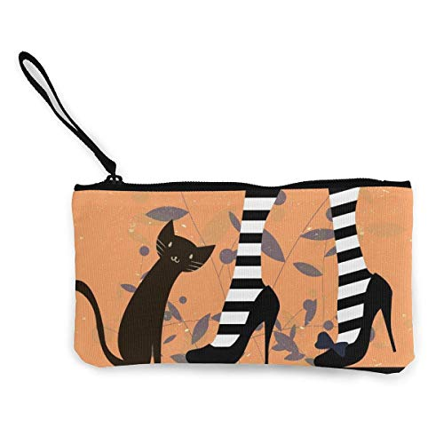 TTmom Damen Leinwand Geldbörse Portemonnaie Geldbeutel, Woman Shoes with Black Cat Unisex Canvas 3D Print Pattern Coin Purse Wallets for Men and Women