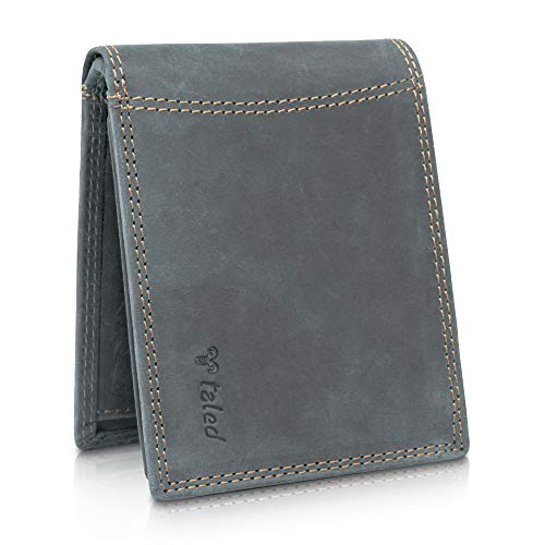TALED® Geldbörse Herren aus hochwertigem Vintage Leder mit RFID-Schutz - Geldbeutel inkl. E-Book zur Lederpflege - Portemonnaie Wallet - Made in Germany