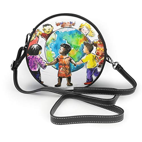 Wrution Kinder around the World around the Globe Personalisierte Runde Umhängetasche mit Reißverschluss weiches Leder Kreise Geldbörse für Damen