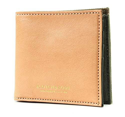 Scotch & Soda Canvas/Leather Billfold Wallet Combo A