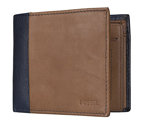 Fossil Mens Ward Travel Accessory- Bi-Fold Wallet, Blue, 11.43 cm L x 2.54 cm W x 9.53 cm H