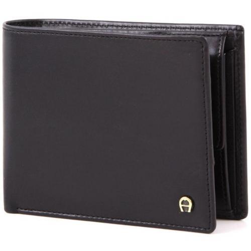 Aigner Basics Geldbörse Leder schwarz 12 cm