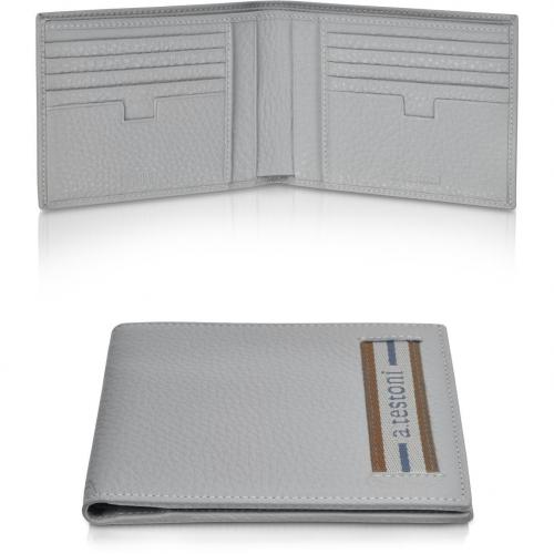 A.Testoni Brieftasche aus grobem Kalbsleder in grau