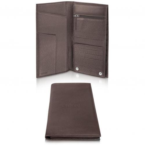 A.Testoni Honeycomb Brieftasche aus bedrucktem Leder in bordeaux