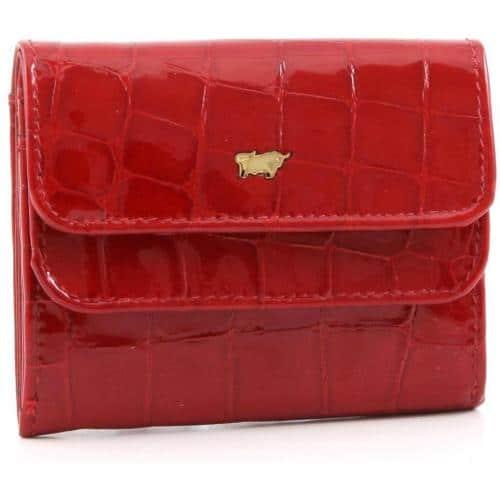 Braun Büffel Glanzkroko Geldbörse rot 9,6 cm