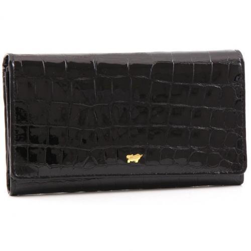 Braun Büffel Glanzkroko Geldbörse schwarz 17 cm