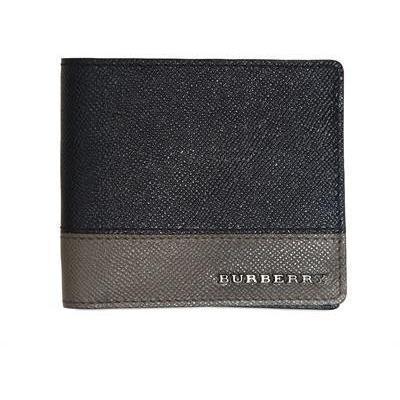 Burberry Lederbrieftasche mit Metalllogo Grau Blau