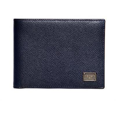 Dolce & Gabbana Strukturierte Lederbrieftasche mit Dauphine Druck Blau