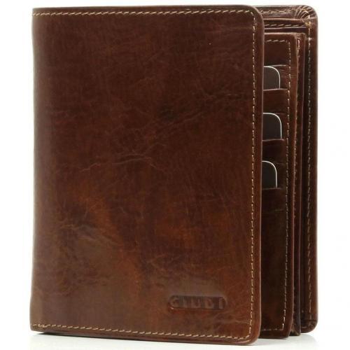Giudi Geldbörse Leder brown 12,5 cm