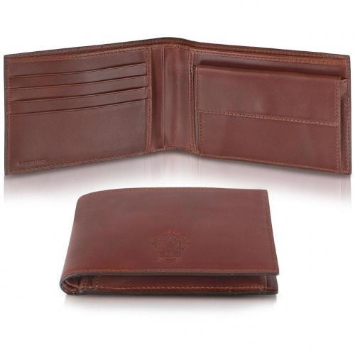 Pineider Power Elegance Brieftasche aus braunem Leder mit Münzfach