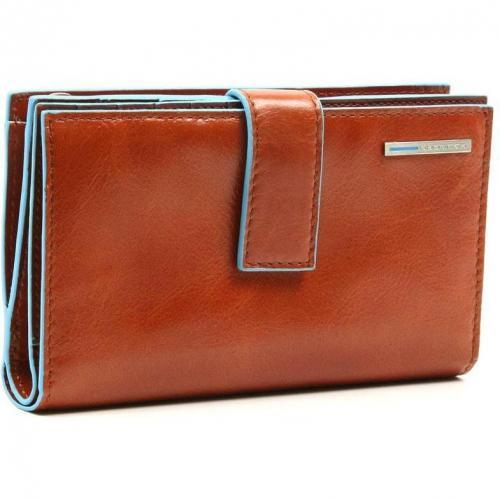 Piquadro Blue Square Geldbörse Leder orange 9,5 cm