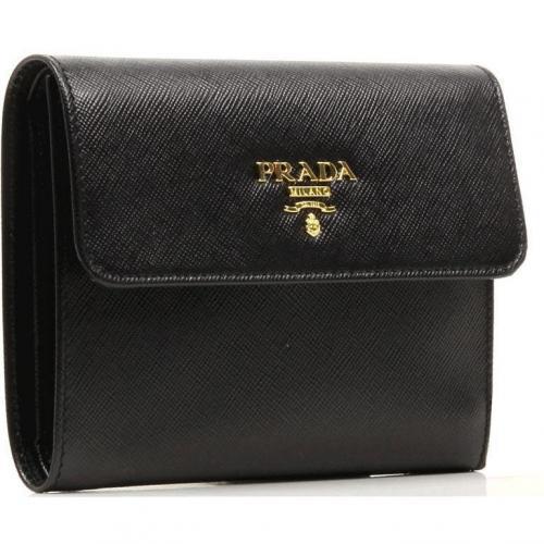 Prada Saffiano Geldbörse Leder schwarz 13 cm