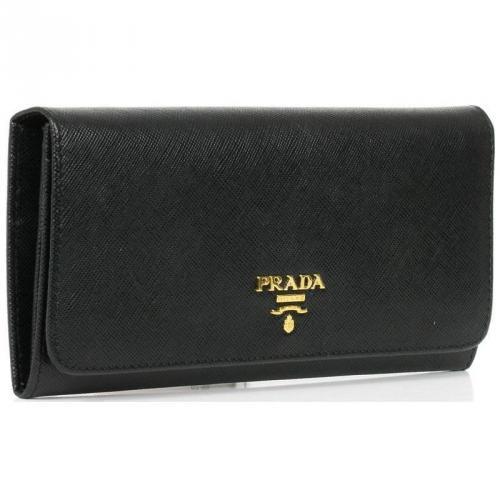 Prada Saffiano Geldbörse Leder schwarz 18,5 cm