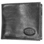 Robe di Firenze Kompakte schwarze Brieftasche aus Leder mit Scheinfach im Querformat