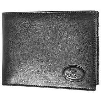 Robe di Firenze Schwarze Herren-Brieftasche aus Leder mit Scheinfach im Querformat und Dokumentenfach